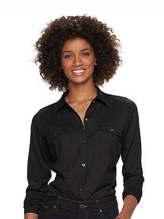 8b0d4f49 Amazon.com: Chaps Women's Petite Solid Knit Button-Down Shirt, Black ...