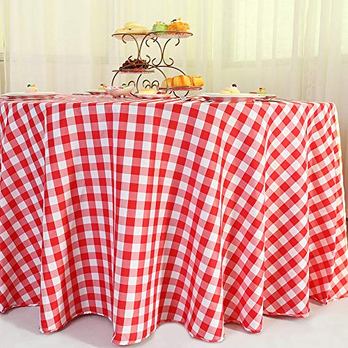 Zdada Red Check Tablecloth Faric Checker Table Cloth 120inch Round Polyester Table Cover Grid Linen Blanet-Red and White Check