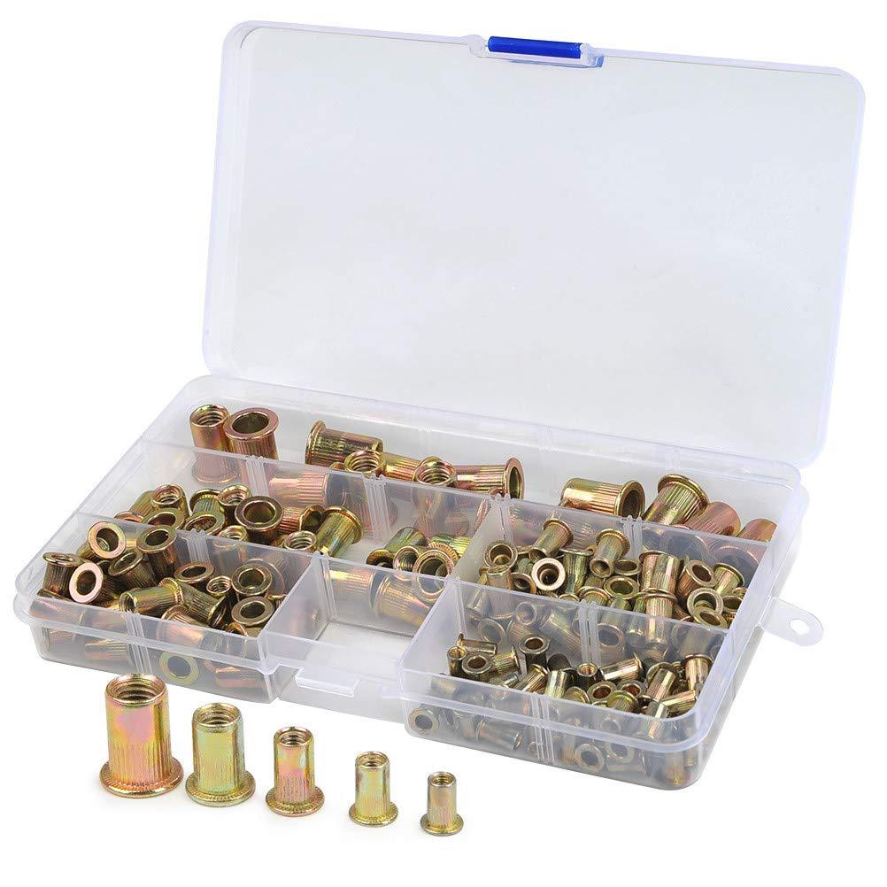 165PCS Carbon Steel Rivet Nut-Insert Nutsert Rivnut Threaded Zinc Plated Rivet-Nut Insert Cap Assortment Kits, M3 M4 M5 M6 M8 Flat Head Riveting Nuts, Sold by QLOUNI Sold by QLOUNI
