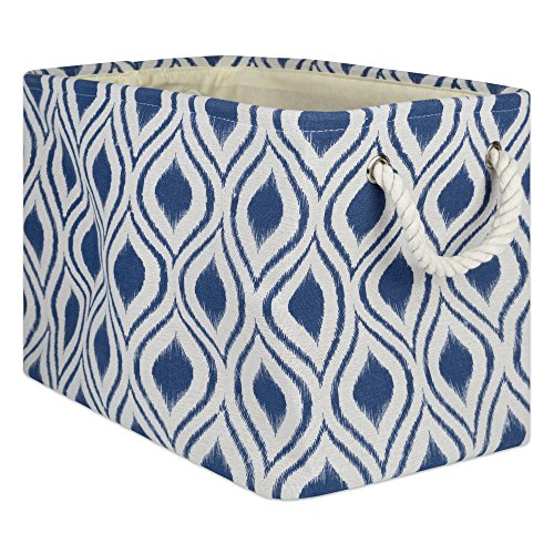 DII CAMZ10033 Collapsible Polyester Storage Basket Or Bin with Durable Cotton Handles, Home Organizer Solution for Office, Bedroom, Closet, Toys, and Laundry, Large-18x12x15, Ikat French Blue
