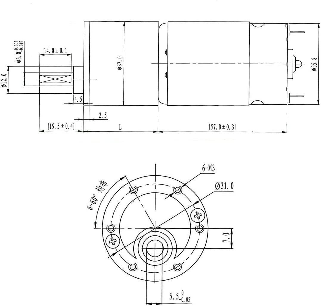15mm Length uxcell 200RPM DC 24V Micro Gear Box Motor Speed Reduction Electric Gearbox Eccentric Output Shaft with 6mm Diameter