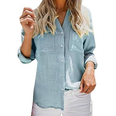 72039f9c79ea OSYARD Damen Langarm Leinen Kleider, Frauen Baumwolle Leinen Casual Solid  Langarm Button Downs Sweatshirt Pullover Tops Kleidung T-Shirt  Amazon.de   ...