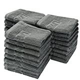 LIVINGbasics™ 100% Cotton Washcloth - Pack of 24, Grey - Extra Soft Fingertip Towels Set, Highly Absorbent Face Towels, Machine Washable Sport and Workout Towels