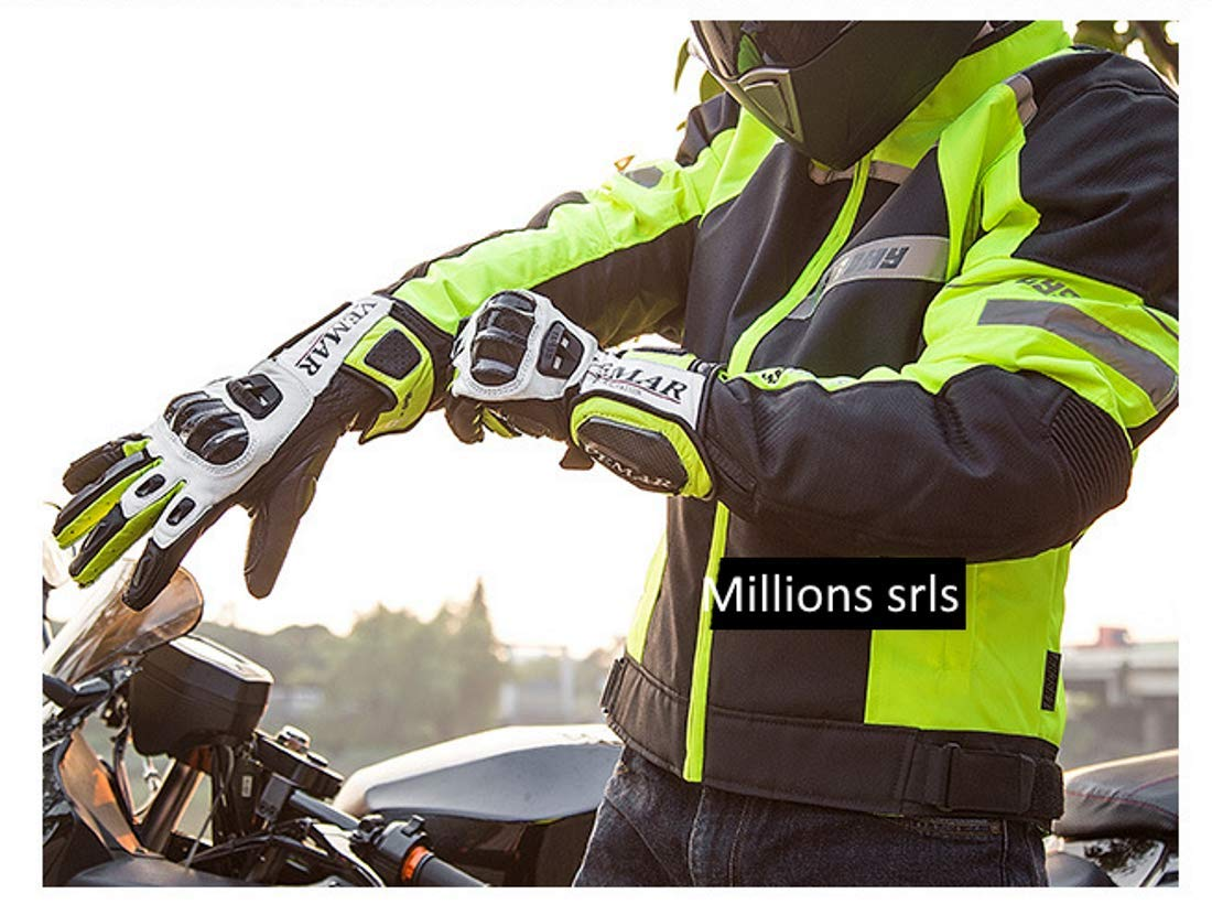 M, Verde Guanti Moto Professionali in Pelle Motocross Racing Pista protezione Carbonio