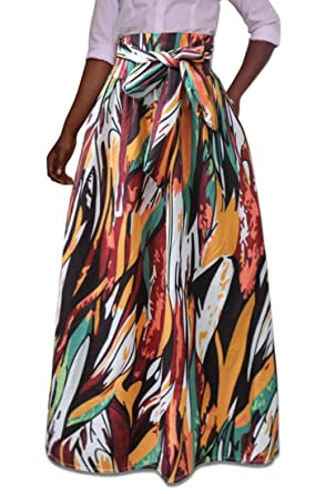 b3727e0afe Suncolor8 Women Summer African Print High Waisted Plus Size Swing ...