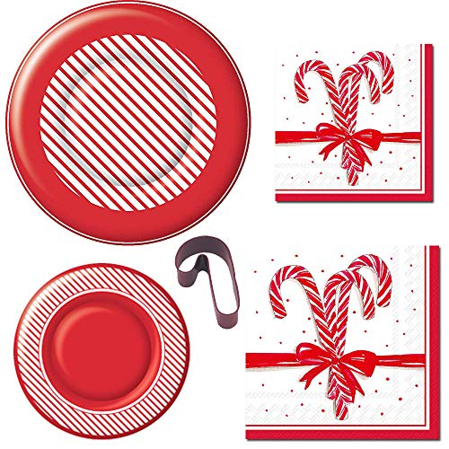 Christmas Disposable Holiday Party Plates and Napkin Bundle for 16 Guests: Dinner & Dessert Plates, Luncheon & Cocktail Napkins, Cookie Cutter + Bonus Recipe (Candy Cane)