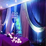 20x10ft Silk Fabric Swag Curtain,Christmas,Birthday Party,Event, Wedding Stage Decorations Backdrop (blue)
