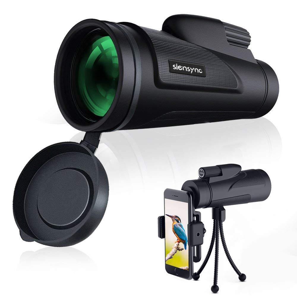 Siensync Monocular Telescope, 12X50 High Powered Waterproof Fogroof Monocular for Phone with Tripod Smartphone Holder for Adult Bird Watching, Outdoor Wildlife, Camping andTraveling, BAK4 Prism Scope