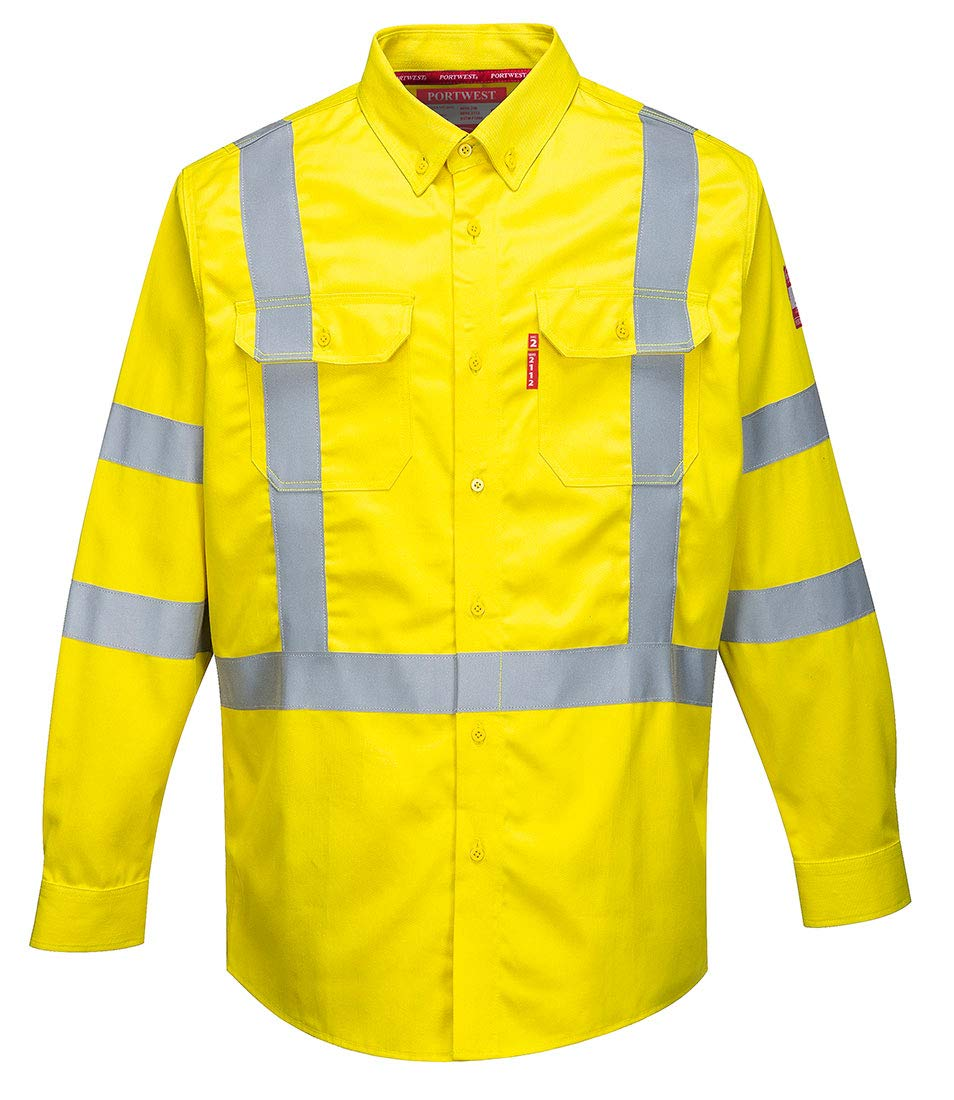 Portwest Hi-Vis Bizflame Shirt 88/12 Reflective Falme Resistant Safety Work Visability ASTM ARC2 ANSI 3, Yellow, 3 XL by Portwest