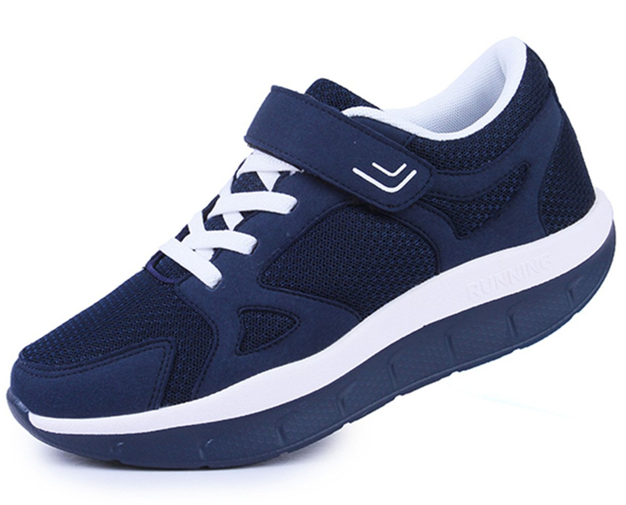 DADAWEN Women's Platform Wedges Tennis Walking Sneakers Comfortable Lightweight Casual Fitness Shoes Dark Blue US Size 9.5