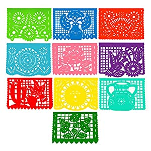 """Super Value Depot Two Large Plastic Mexican """"Papel Picado"""" Banners. ( Over 16 feet long each banner). 20 individual pannels. (10 pannels per banner). A colorful touch for your celebrations. 10"""