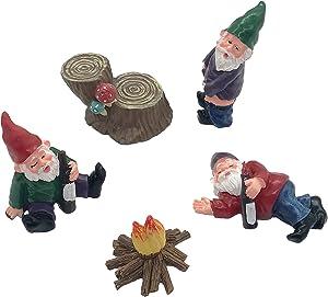 5 Pcs Drunk Gnomes Garden Decorations Outdoor Clearence Fairy Garden Accessories Kit Miniature Gardening Gnomes Figurines Ornaments Mini Dwarf & Tree Stump Landscape Statue Decor