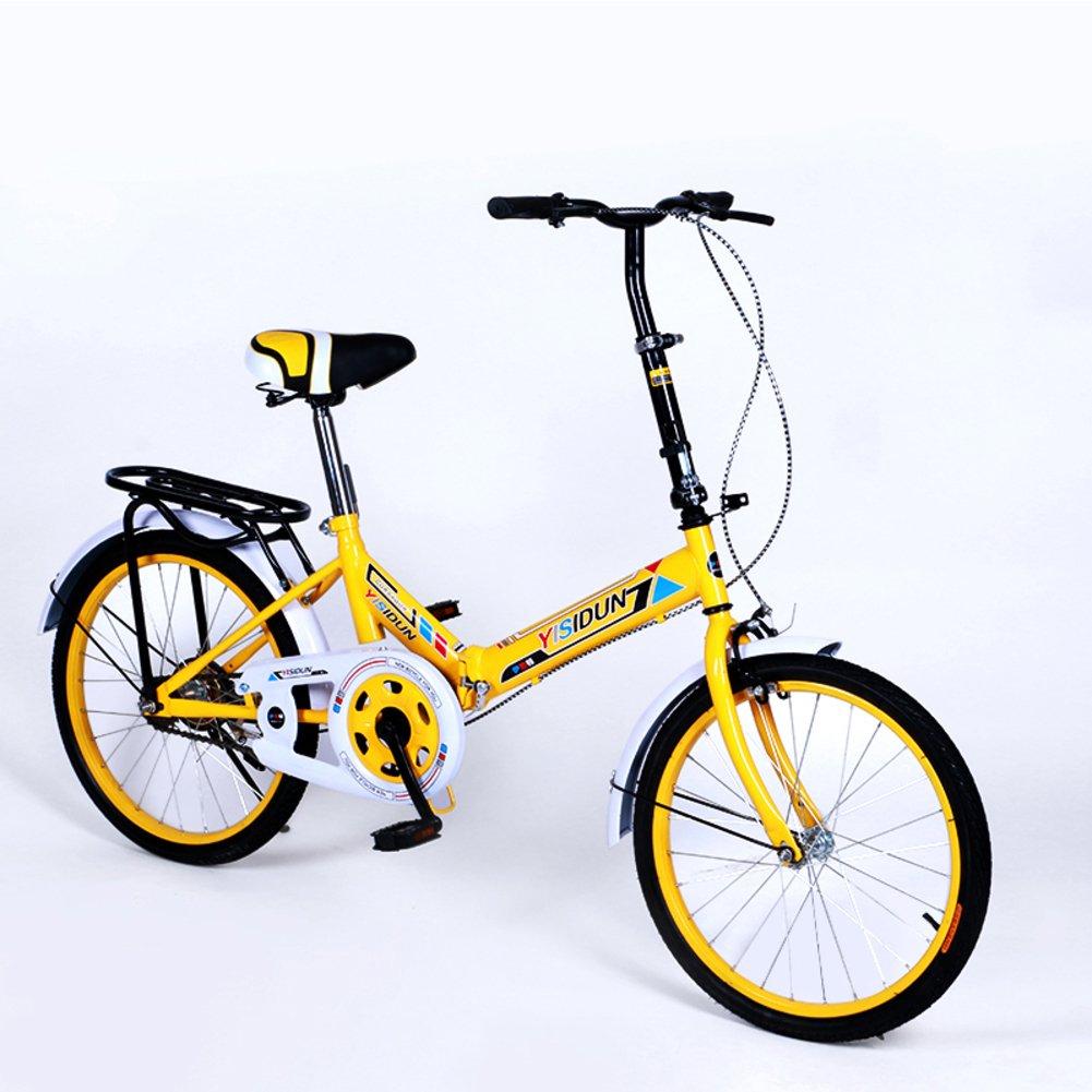 女性 折りたたみ自転車, 大人 折りたたみ自転車 女性自転車 男女 スタイル 学生の車 折りたたみ自転車 B07D2BWJYY 20inch|黄 黄 20inch