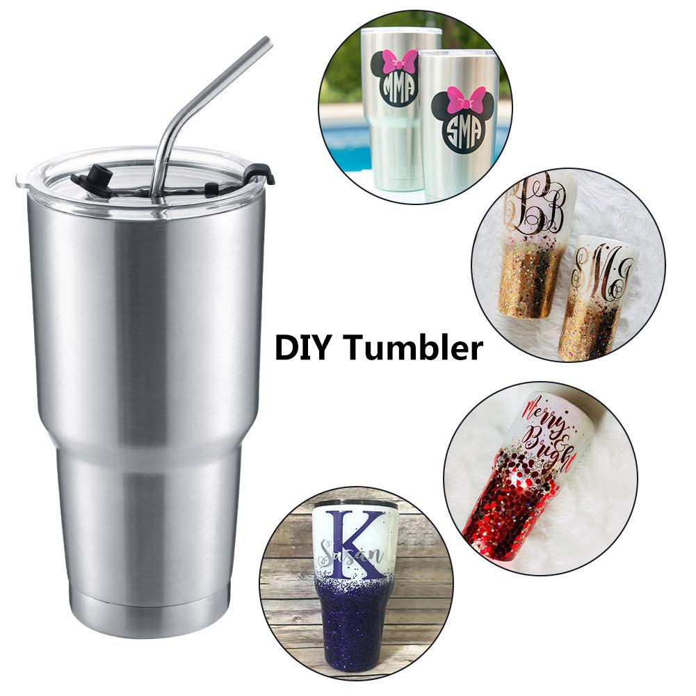 DYNAMIC SE 30oz Tumbler Double Wall Stainless Steel Vacuum Insulated Travel Mug with Splash-Proof Lid Metal Straw and Brush