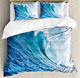 Ocean Decor King Size Duvet Cover Set by Ambesonne, Large Powerful Pasific Surf Sea Wave Crashes Hard, Decorative 3 Piece Bedding Set with 2 Pillow Shams
