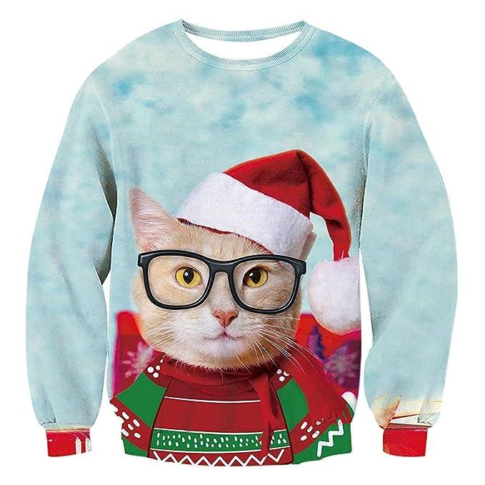 ec9b83d2d Amazon.com: Weiyun Women Funny Christmas Pullover Sweatshirts 3D Cat Printed  Long Sleeve Shirts: Clothing