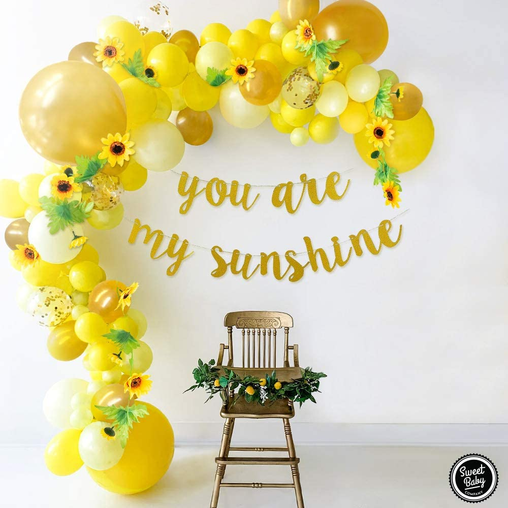 Sweet Baby Co. Sunflower Baby Shower Decorations for Girl or Boy Sunflower Balloon Garland Arch Kit with Yellow Balloons, Flowers Vine, You Are My Sunshine Gold Banner, Bee Theme Decor Birthday Party