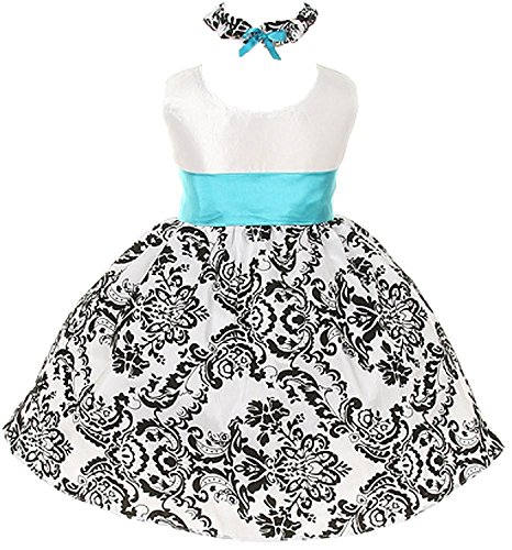 (White Black Velvet Special Occasion Dress Turquoise Sash Baby XL / 18 - 24 Month)