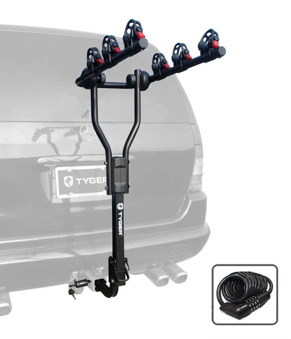Tyger Auto TG-RK3B101S 3-Bike Hitch Mount Bicycle Carrier Rack | Free Hitch Lock & Cable Lock | Fits Both 1.25'' and 2'' Hitch Receiver