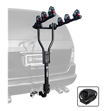 Tyger Auto TG-RK3B101S 3-Bike Hitch Mount Bicycle Carrier Rack | Free Hitch Lock & Cable Lock | Fits Both 1.25  and 2  Hitch Receiver