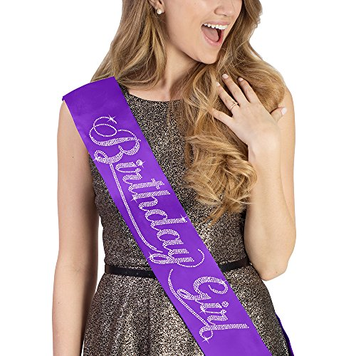 (Birthday Girl Rhinestone Birthday Sash - Birthday Party Supplies & Decorations - Purple)