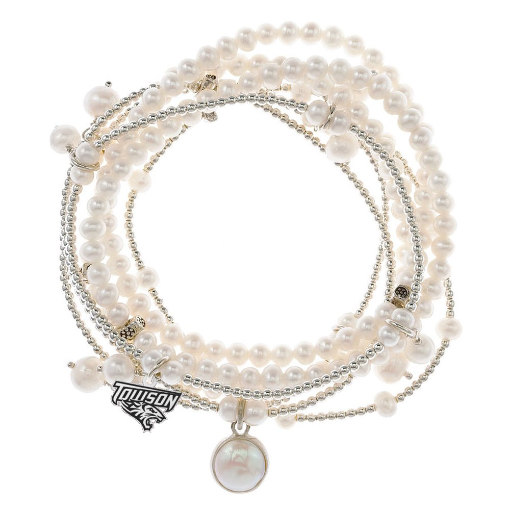 Towson Tigers 7 Strand Freshwater Pearl and Silver Bracelet