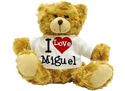 I Love Miguel – diseño de oso de peluche regalo nombre (22 cm de alta