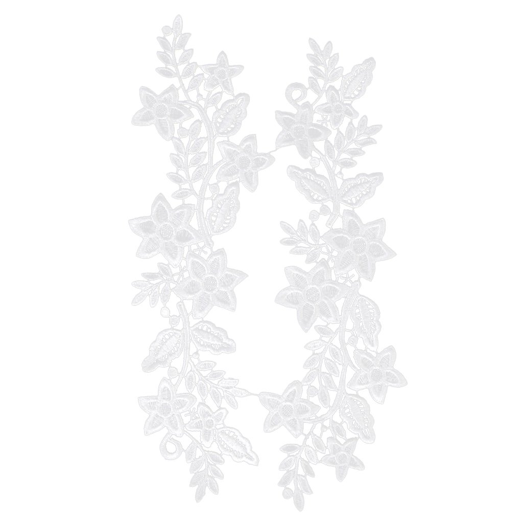 1 x Polyester Flower Lace Sewing Applique Patch White 12 Inch
