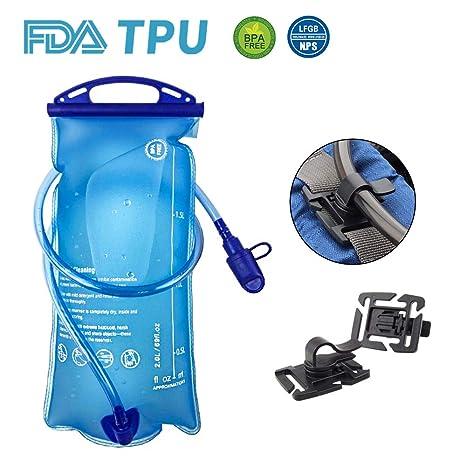 OFUN Bolsas de Agua para Mochilas, 2 Litro Vejiga de Hidratación con Clips de Hidratación, Material de TPU, Aprobado por la FDA Sin BPA Certificado ...