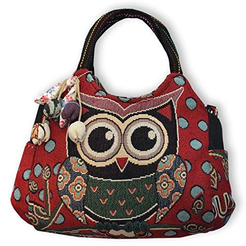 Eule Tasche Handtasche Henkeltasche ***EULE MIT SÜSSEN ACCESSOIRES*** - ROT- Shoppertasche Schultertasche Eulenmotiv Umhängetasche - VINTAGE LOOK / absolut cool und stylish