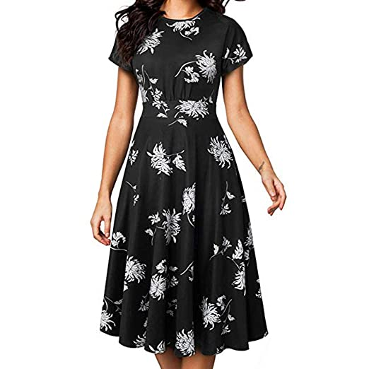 1b1113269d3 Aniywn Women s Short Sleeve High Waist Swing Dresses Summer Casual Print  Mini Skirt Evening Dress Black