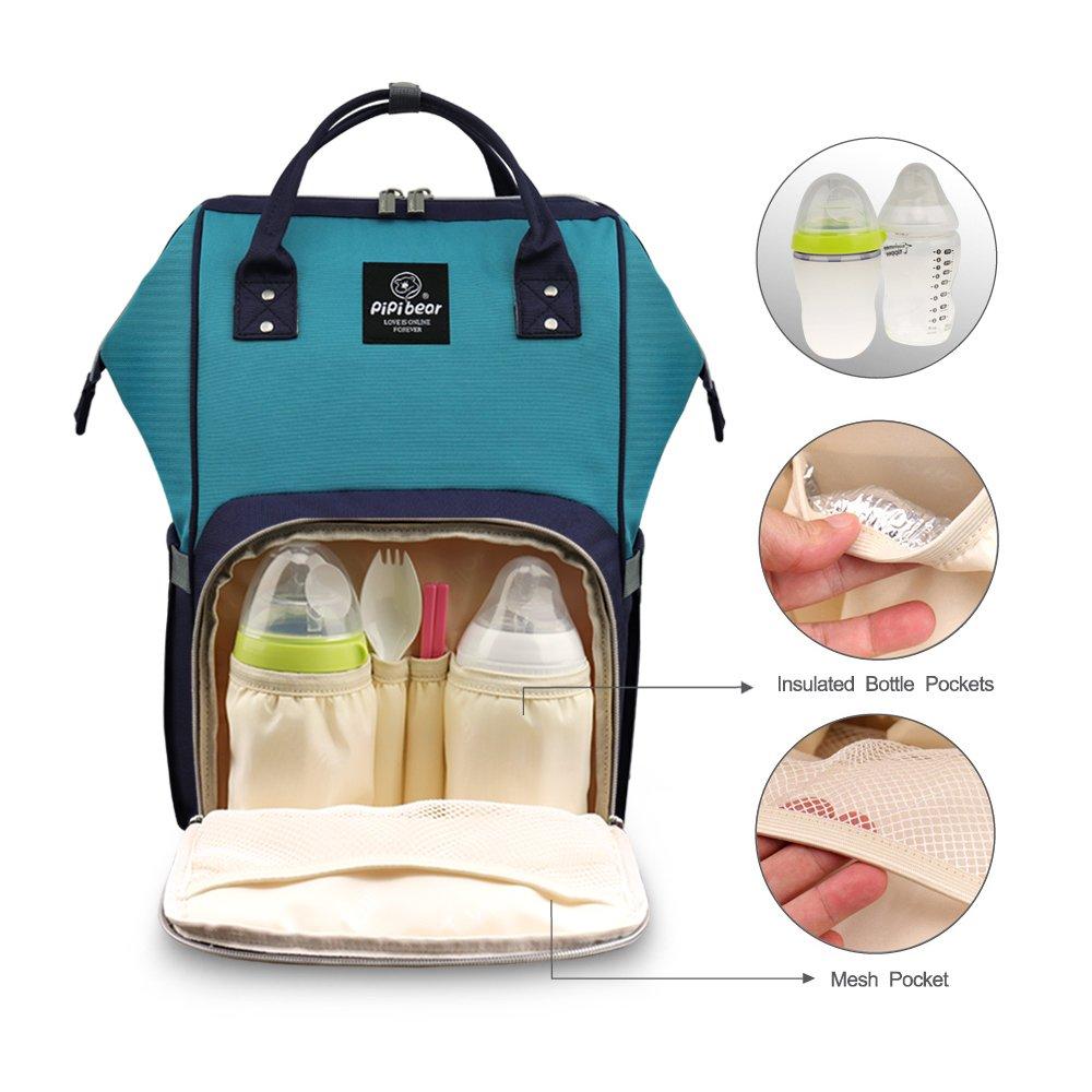 Grey HEYI Multi-Function Nappy Changing Bag,Waterproof Diaper Bag Backpack with Large Capacity Mum Traveling Bags