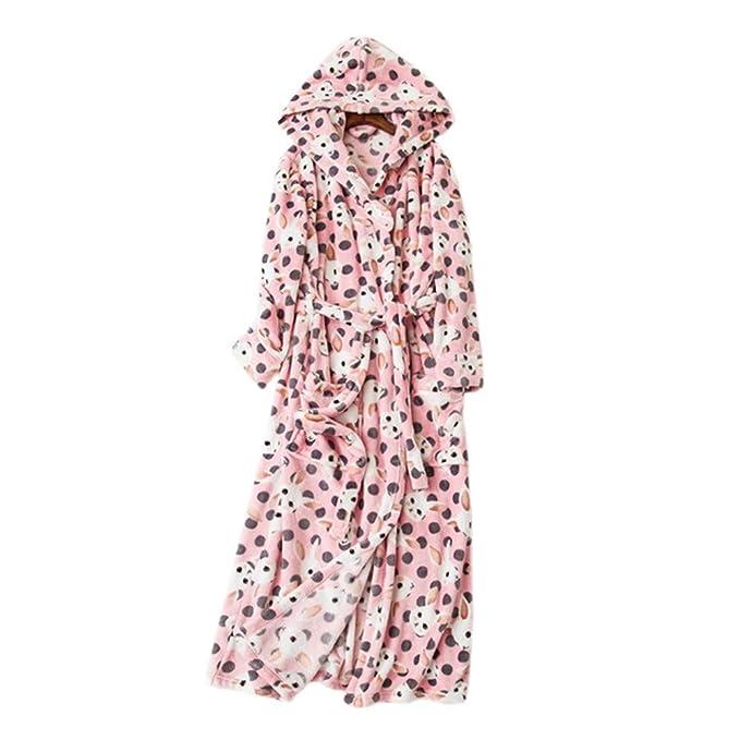 YTFOPLK Franela De Invierno con Capucha Batas De Baño Mujeres Kimono Bata Conejo Lindo Mantener Caliente