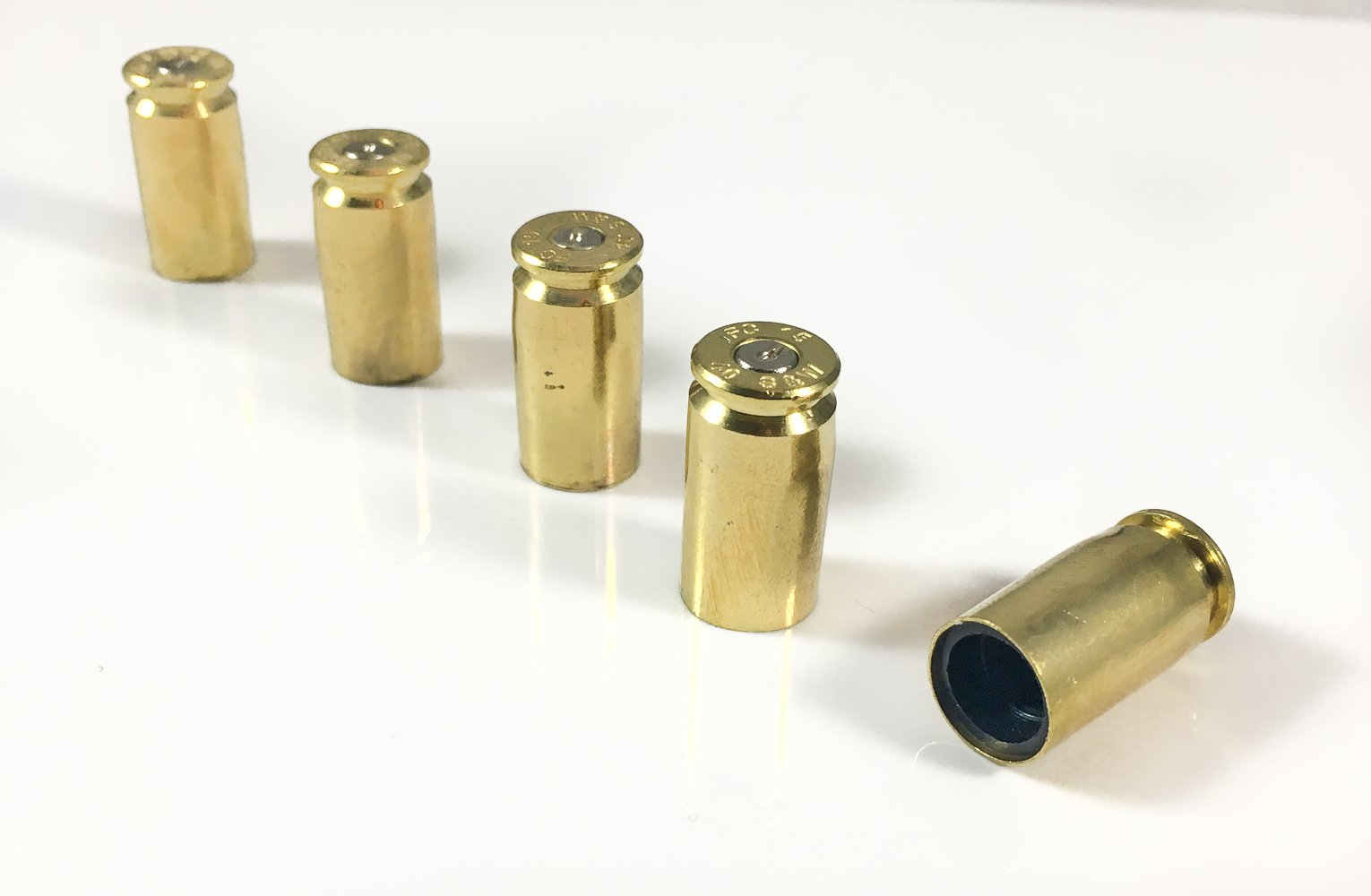 Hollow-Point Gear Bullet Tire Caps for Jeeps - Set of 5 Recycled Brass .40 Caliber Once-Fired Bullet Casing - Car, Bike, Motorcycle, Truck, ATV Replacement Tire Valve Caps. Gift for Military