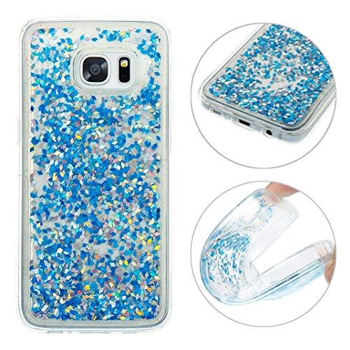 Funda Samsung Galaxy S7 Edge Púrpura Bling Arena Movediza Lentejuelas Concha Blanda,Moon mood® 3D Moda Fluido Líquido Quicksand Estrellas Case Cubierta para Samsung Galaxy S7 Edge SM-G9350 Silicona Sl Azul