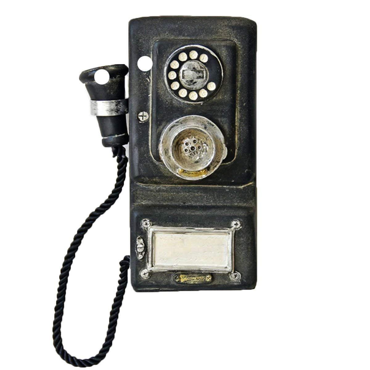 VintageBee Antique Phone Model Resin Vintage Decorative Telephones Old Creative Fashion Retro Phone Wall Hanging Vintage Decorative Phone Model Bar Tea Shop Decoration 80x40x210mm