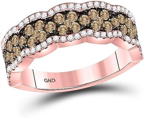 anillo de oro rosa con diamantes marrones y blancos de 1 quilates