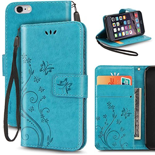 iPhone 6S Plus Case, Korecase Premiun Wallet Leather Credit Card Holder Butterfly Flower Pattern Flip Folio Stand Case for Apple iPhone 6 6S Plus 5.5 Inch With a Wrist Strap (Blue)