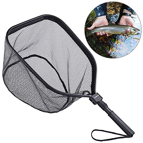 ODDSPRO Fly Fishing Landing Net, Bass Trout Net, Catch and Release Ruber Coating Net - Foldable Fishing Nets Freshwater