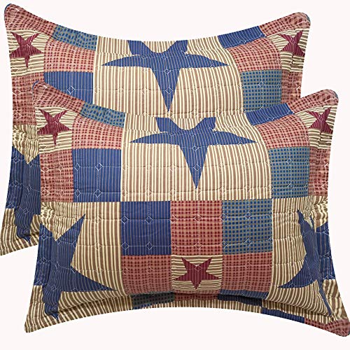 Jessy Home Plaid Patchwork Standard Quilted Pillow Shams Set of 2 Red Blue Star Square Pillow Covers 20 X 26-Inch Queen/Full Size 100% Brushed Microfiber (Red Quilted Sham)