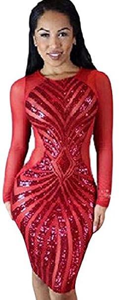 harrowandsmith mujeres de manga larga de lentejuelas bodycon vestido gallina hacer fiesta noche Clubbing Raving lencería