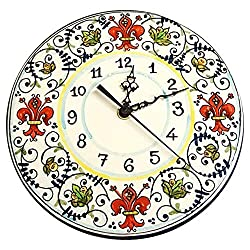 CERAMICHE D'ARTE PARRINI - Italian Ceramic Wall Clock Lily Red Hand Painted Made in ITALY Tuscan Art Pottery