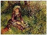 ArtPlaza TW92762 Pierre-Auguste-Madame Renoir with Dog Decorative Panel 35.5x27.5 Inch Multicolored