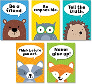 Creative Teaching Press Woodland Friends Character Traits Inspire U 5-Poster Pack (Accent Classrooms, Walls, Hallways, Displays, Learning Spaces and More) (8697)