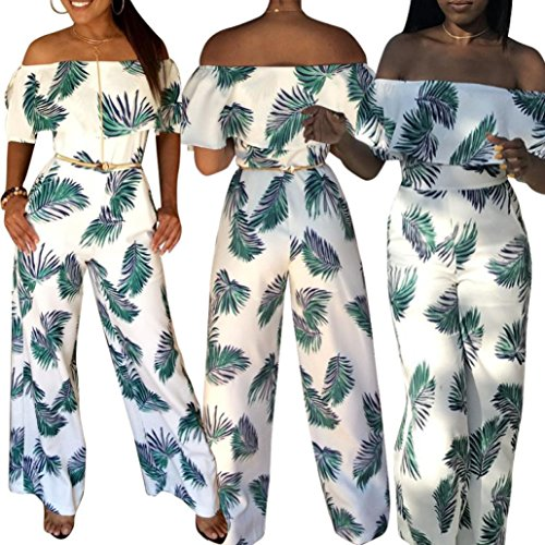 8e4ecc0c5b03 Jushye Women s Floral Ruffle Off Shoulder Jumpsuits