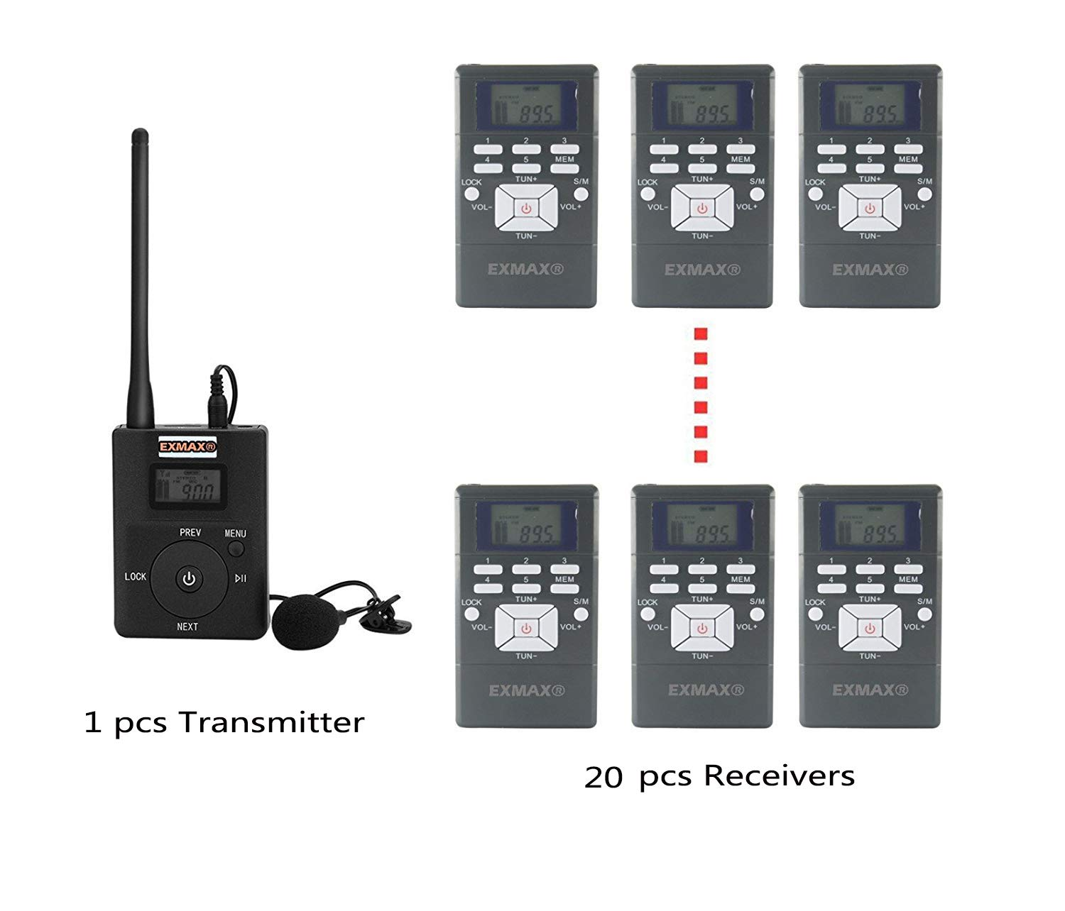 EXMAX 60-108MHz Portable DSP Stereo Wireless Headsets FM Radio Broadcast System for Tour Guide Teaching Meeting Training Travel Field Interpretation - 1 Transmitter and 20 Receivers Gray