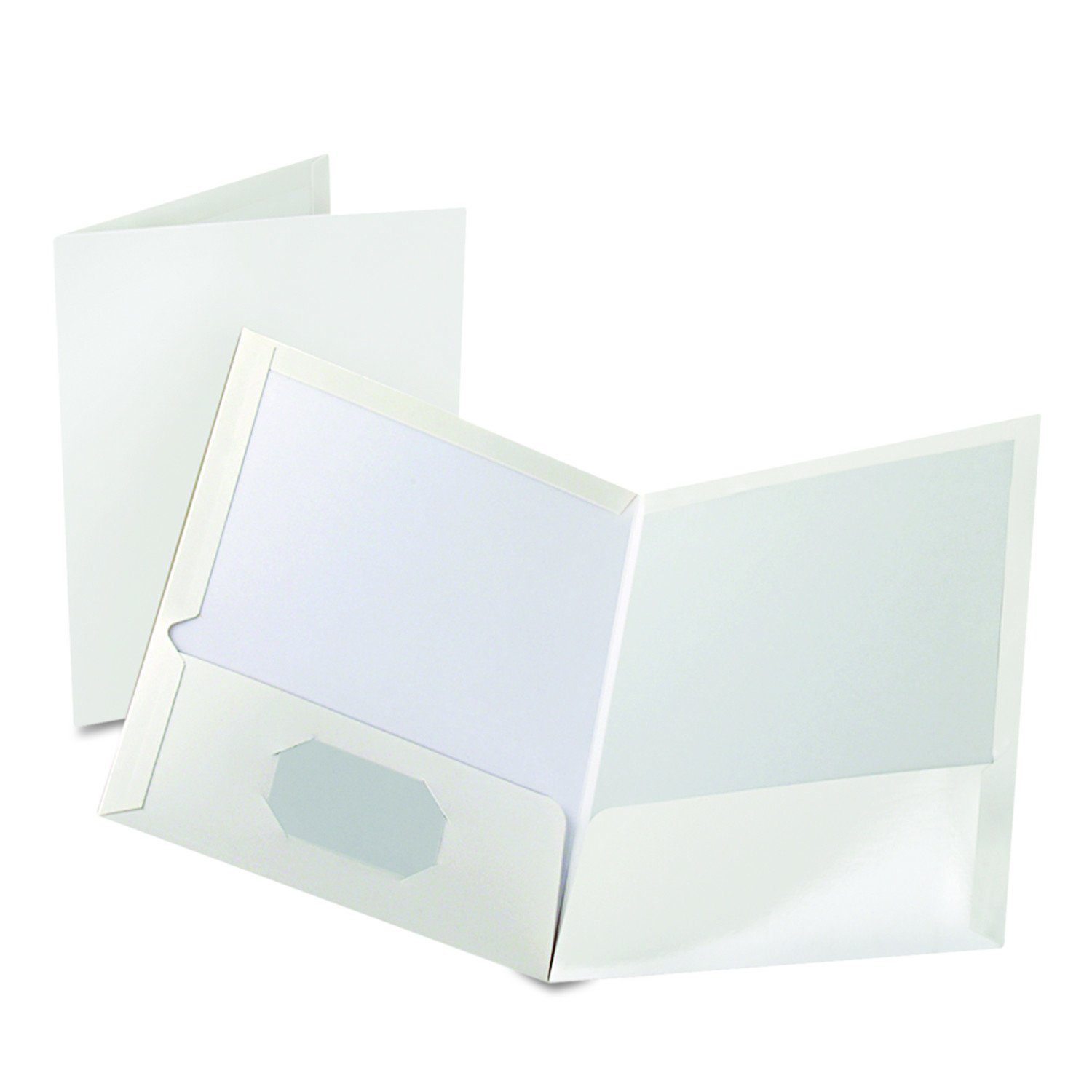 Amazon.com : Oxford Showfolio Laminated Twin Pocket Folders, Letter Size,  White, 25 Per Box (51704) : Binder Pockets : Office Products