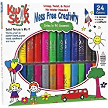 Pencil Grip Kwikstix Solid Tempera Paint 24ct, Super Quick Drying, 12 Classic, 6 Neon, 6 Metallix Colors (TPG-604)