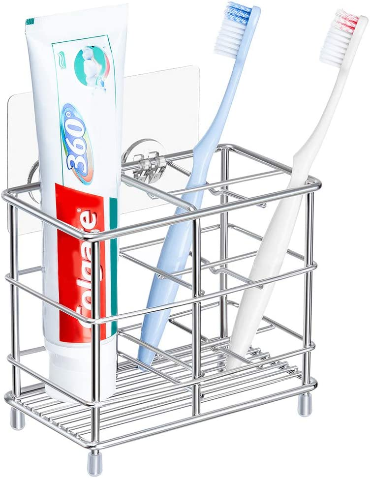 YONGJIE Stainless Steel Bathroom Toothbrush Holder Toothpaste Holder Stand, Wall-Mounted or Countertop Multi-Function Bathroom Storage Rack with Powerful Self-Adhesive: Home & Kitchen