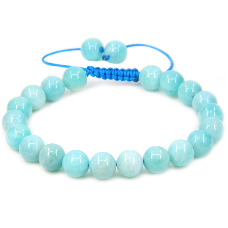 Handmade Gemstone 8mm Round Beads Adjustable Braided Macrame Tassels Chakra Reiki Bracelets 7-9 inch Unisex Amandastone JAMAN8M-KT-B34